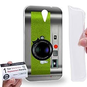 Case88 [HTC Desire 620] Gel TPU Carcasa/Funda & Tarjeta de garantía - Art Drawing Green Retro Old Style Camera Art1884