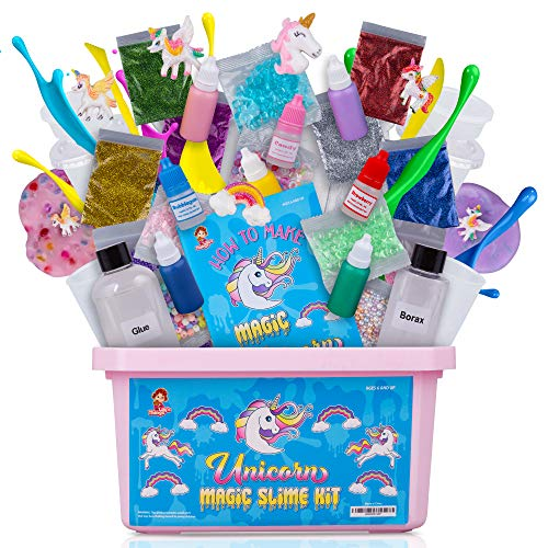 Unicorn Slime Kit for Girls - Slime Kits with Everything in One Box - Unicorn Poop Slime Kit with Unicorn Charms. Create Fluffy Slime, Fishbowl Slime, Unicorn Sparkle Slime for Girls and More.