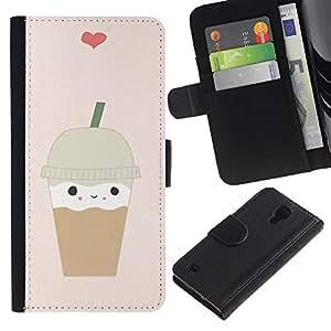 LASTONE PHONE CASE / Lujo Billetera de Cuero Caso del tirón Titular de la tarjeta Flip Carcasa Funda para Samsung Galaxy S4 IV I9500 / ice cream coffee heart brown cute
