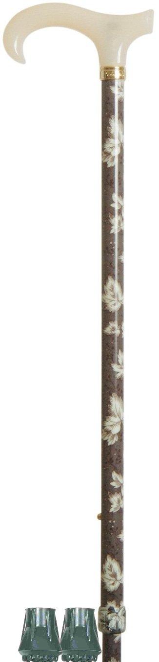 Bast—n Derby de Moda Tama–o Petite, Empu–adura de Acr'lico y Patr—n de Hojas Sobre Fondo Gris Pizarra en el Cuerpo del Bast—n, Altura Ajustable + 2 Punteras de Repuesto (Conjunto de Alta Calidad) Classic canes