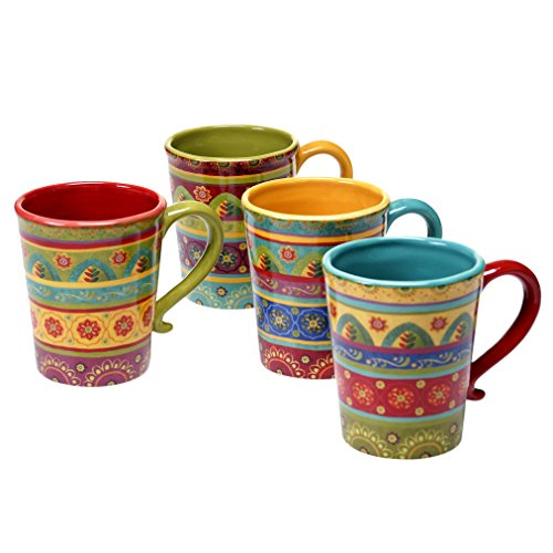 Certified International 22452SET/4 Tunisian Sunset Mugs (Set of 4), 18 oz, (Hand Painted Coffee Cup)
