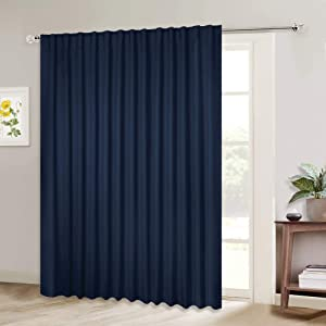NICETOWN Blackout Wide Sliding Door Curtains - Insulated Noise Reduction Drapes, Privacy Vertical Blind for Living Room & Bedroom (Navy, W100 x L95 inches, Sold Individually)