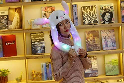 (Happy Island LED Glowing Plush Moving Rabbit Ear Hat Dancing Bunny Ears Pinching Ear to Move Vertically Cartoon Animal Plush Toys (White))