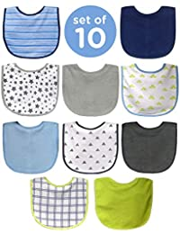 10 Pack Water Resistant Bib Set Blue/Grey Assorted