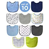 Neat Solutions 10 Pack Water Resistant Bib Set Blue/Grey Assorted: more info