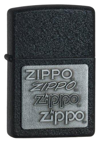 Zippo 363 Black Crackle, Pewter Emblem, Lighter
