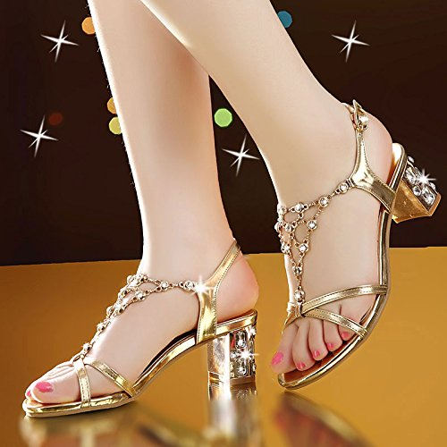 Buckle LvYuan Sandals Fashion Women's Chunky Dress Heel strass Evening amp; Summer Or Chaussures Party f6qvfa