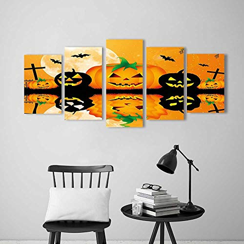 5 Pieces Modern Wall Art Decor Frameless Spooky Carved Halloween Pumpkin Decor Full Moon with Bats and Grave by Lake for Home Print Decor for Living Room -