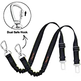 iBuddy Dog Seat Belts for Cars of Small/Medium/Large Dogs,Adjustable Pet Seat Belt for Dog Harness with Dual Safe Bolt Hook and Elastic Durable Nylon Dog Safety Belt for Car (2 Pack)