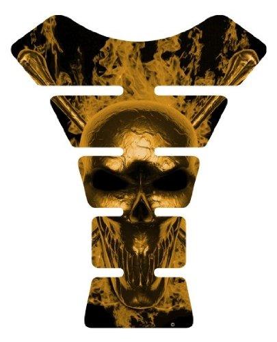 Motorcycle fire skull gold sportbike gel Motorcyle Sportbike tank pad tankpad protector (Sportbike Tank Pads)