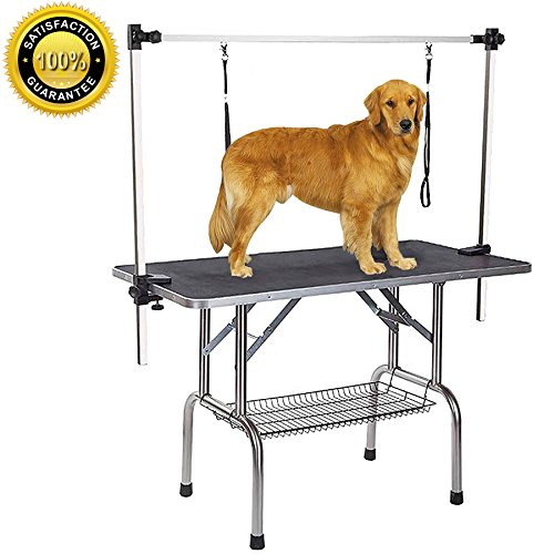 - Gelinzon Dog Grooming Table, Large Heavy Duty w/Adjustable Overhead Arm and Clamps for Dogs and Pets