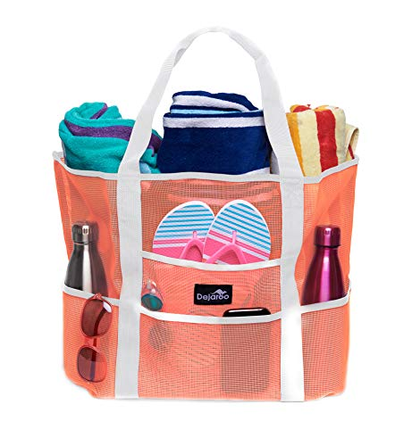 Dejaroo Mesh Beach Bag - Toy Tote Bag - Large Lightweight Market, Grocery & Picnic Tote with Oversized Pockets (Peach with White Handles)]()