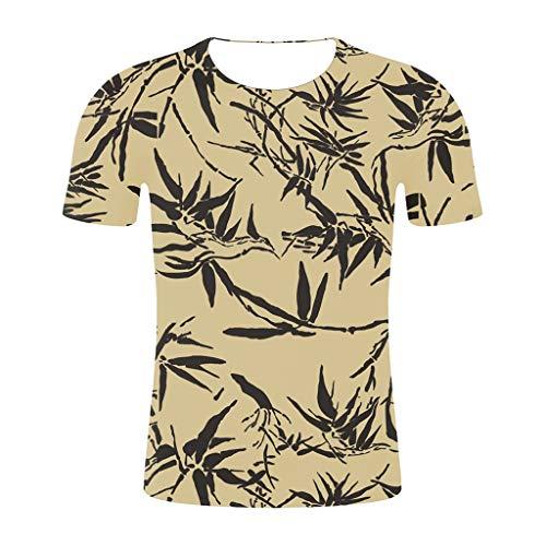 Men T-Shirt Short Sleeve 3D Printed Floral T-Shirt Crewneck Shirts Stylish Summer Tops for Women(XXL,Yellow)
