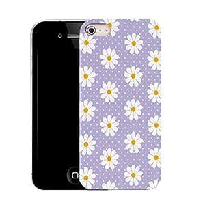 Caso móvil Case iPhone 4s en silicona parachoques y lápiz - púrpura seductivo (silicio) daisy patrón