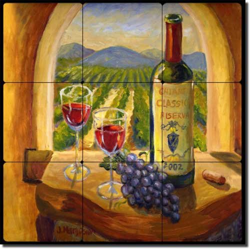 - Chianti View by Joanne Morris Margosian - Wine Grape Tumbled Marble Tile Mural 12
