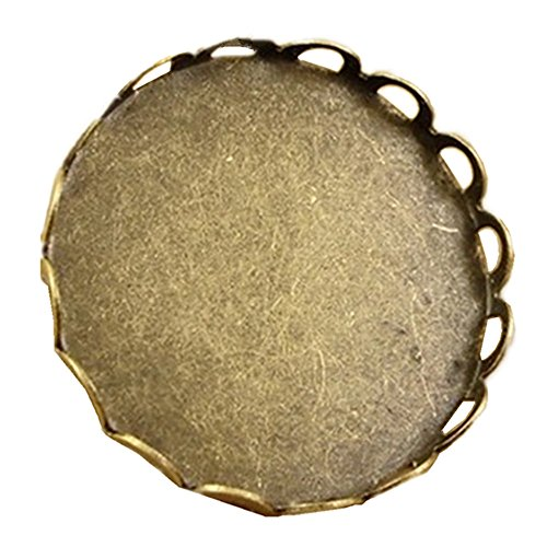 30pcs/lot Circular Brooch Base Cabochon 20mm Settings Jewelry Crafts in Antique Bronze