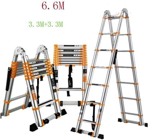 YiWu Escalera de Mano Escalera Plegable telescópica Ingeniería Escalera Unilateral de aleación de Aluminio portátil para el hogar (Size : 6.6M): Amazon.es: Hogar