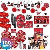 HollyDel Ultimate Red Congrats Grad Graduation Party Kit for 100 Guests Graduation Party Kits