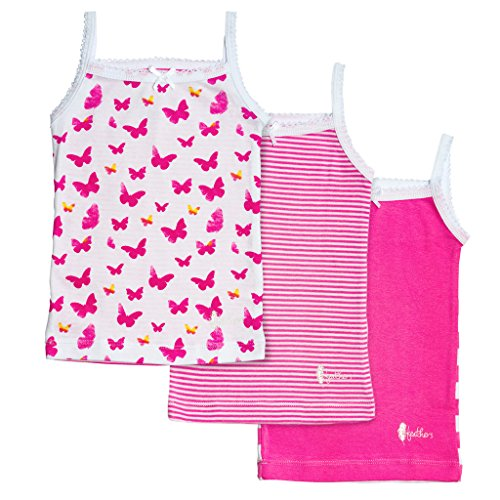 Feathers Girls Pink Butterfly Print Tagless Cami Super Soft Undershirts (3/Pack) (Girls Undershirt)