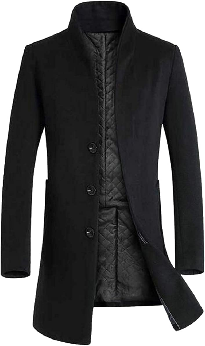 ONTBYB Mens Trench Coat Wool Blend Long Jacket Winter Business Top Coat