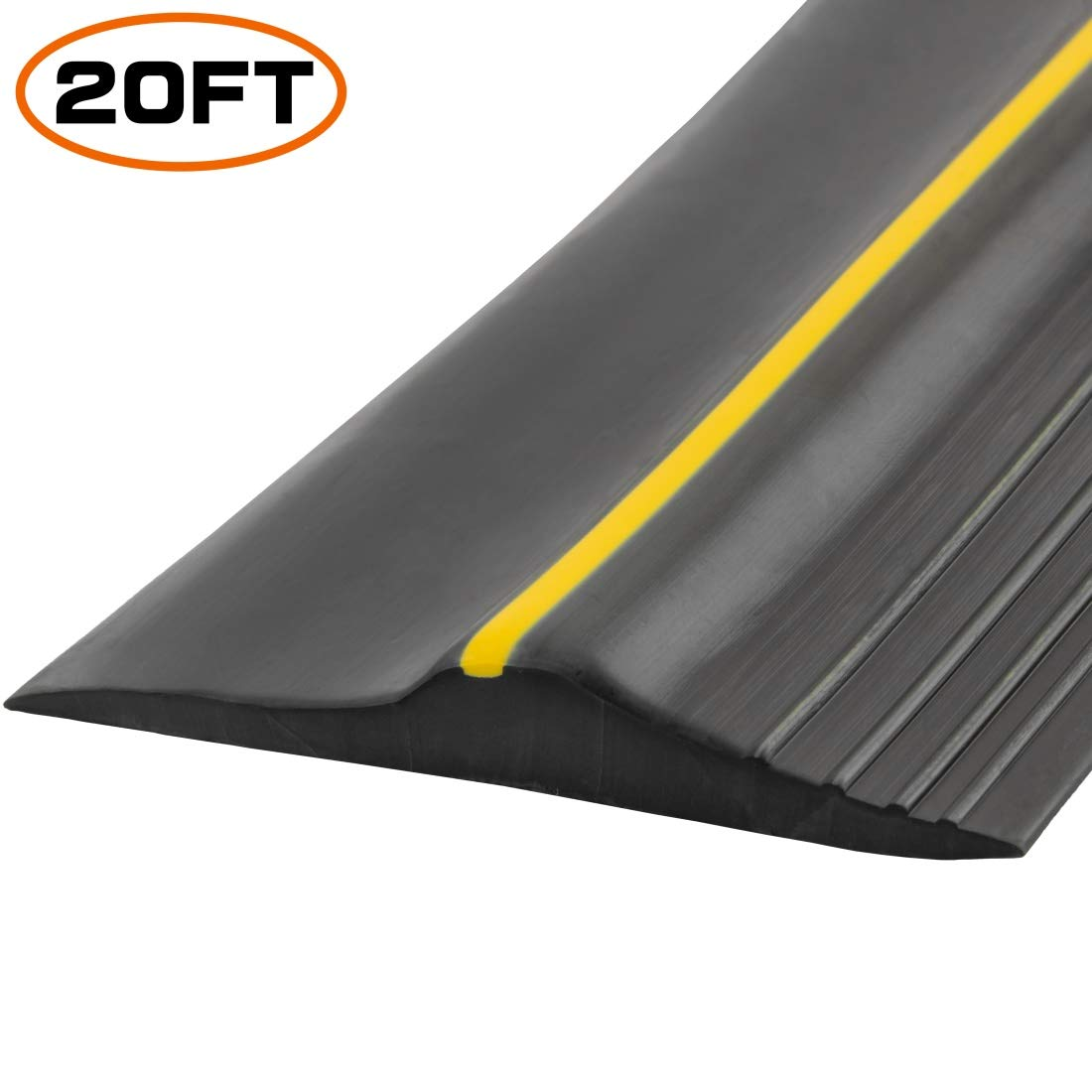 Universal Garage Door Bottom Threshold Seal Strip,Weatherproof Rubber DIY Weather Stripping Replacement, Not Include Sealant/Adhesive (20Ft, Black) by PAPILLON