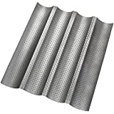 Amagabeli 4 Non-stick Perforated Baguette Pan French Bread Pan Wave Loaf Bake Mold, Silver