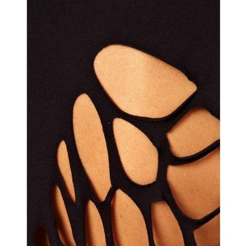 TOOGOO(R)Moda Mujer Verano T-shirt Lazer cortar alas de Angel corta manga Tops Negro L