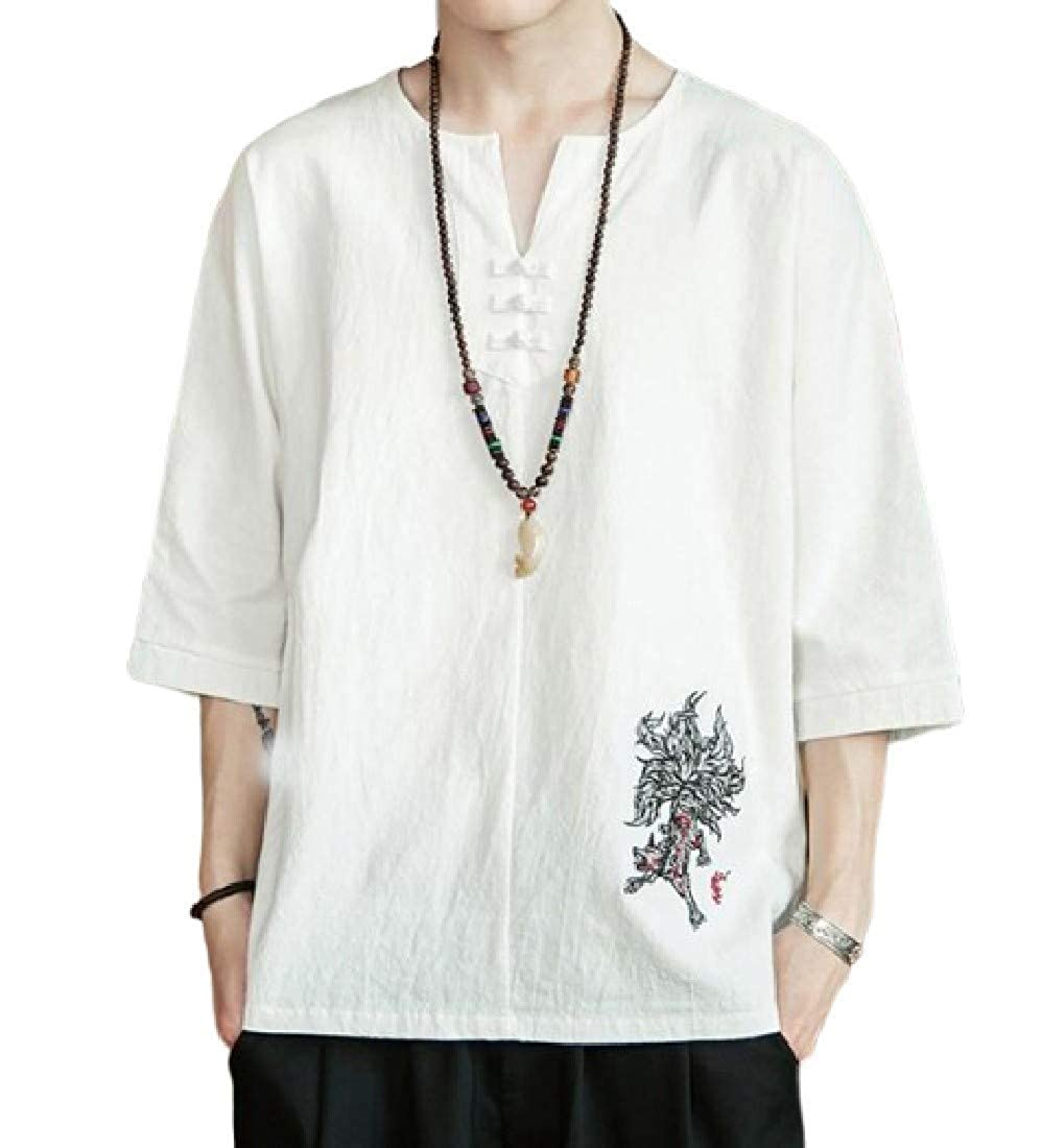 pipigo Mens Short Sleeve Linen Embroidery Chinese Style Summer T-Shirts Tee
