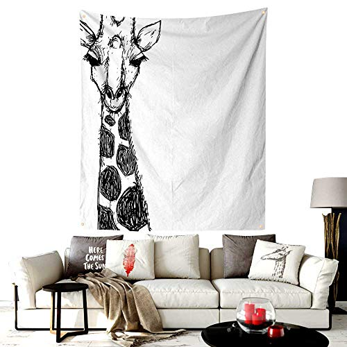 LOUTAN-Home Custom Made San Diego Tapestry,Cute Graphic of Safari Giraffe with His Tall Neck and Spots West African Wild,Printed Tapestry for Office Decoration,40W X 60L Inches Black -