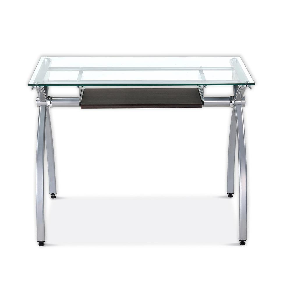 Galleon Contempo Clear Glass Top Computer Desk With Pull