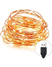 TOPLUS 10m/33ft Starry Copper Wire String Lights, USB Powered Waterproof 100 LEDs, Warm White for Decoration