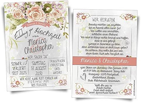 Tarjetas De Invitación Para Boda Vintage Rosas X2022