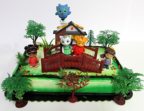 Daniel Tiger Birthday Cake Topper Set Featuring Daniel Tiger and Friends Figures and Decorative Themed Accessories]()
