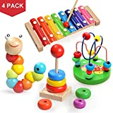 Wooden Educational Toys,4 Pcs Musical Instrument Set Include Xylophone,Rainbow Ring Stacker,Caterpillar and Bead Maze Toy,Promotes Early Development and Educational Learning