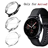 KPYJA for Samsung Galaxy Watch Active 2 44mm Screen Protector, All-Around TPU Anti-Scratch Flexible Case Soft Protective Bumper Cover for Galaxy Watch Active 2 Smartwatch (Black/Silver/Clear, 44mm)