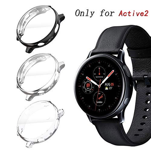 KPYJA for Samsung Galaxy Watch Active 2 44mm Screen Protector, All-Around TPU Anti-Scratch Flexible Case Soft Protective Bumper Cover for Galaxy Watch Active 2 Smartwatch (Black/Silver/Clear, 44mm) (Galaxy 2 Case)