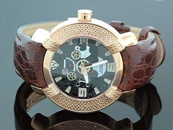 AQUA MASTER Herren-Armbanduhr Analog Leder Schwarz 0112MUUFPON