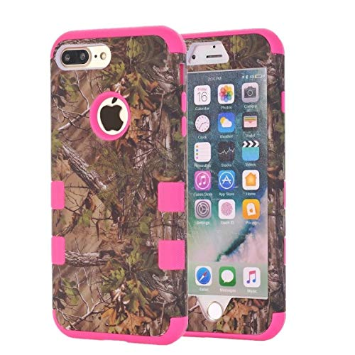 Camo Oak Tree Case by Tech Express for Apple iPhone 7+ / 8+ Plus Camouflage Real Hunting Mossy Durable Defender Heavy Duty Protection Shockproof Protective Thick Cover [3 Piece Hard Cover] (Rose Red)