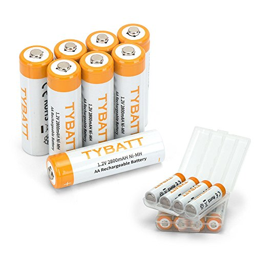 TYBATT NiMh AA Rechargeable Batteries High Capacity, 2800mAh Pre-Charged Battery Pack, 8-Pack with 2 Storage Cases ()