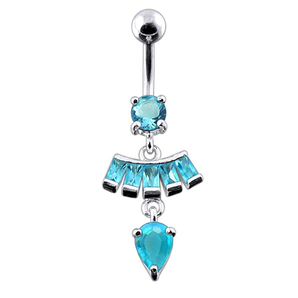 CZ Crystal Gemstone Stylish Studded Pear Shape Dangling 925 Sterling Silver Belly Ring Body Jewelry