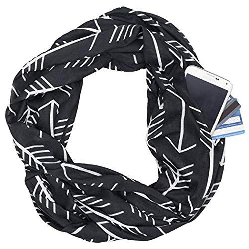 Comeon Infinity Scarves Arrow Pattern Print Lightweight Wrap Scarf with Hidden Zip Pocke Fashion Travel Scarfs for Women Men Boy Girl (Black) ()