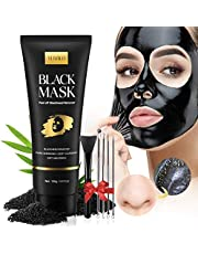 Blackhead Remover Mask Kit, Charcoal Face Mask Peel Off for Blackhead, Acne, Dirt, Purifying and Pores Shrinking, Deep Cleansing Black Facial Mask with Pimple Extractors and Mask Brush (3.5oz / 100g)