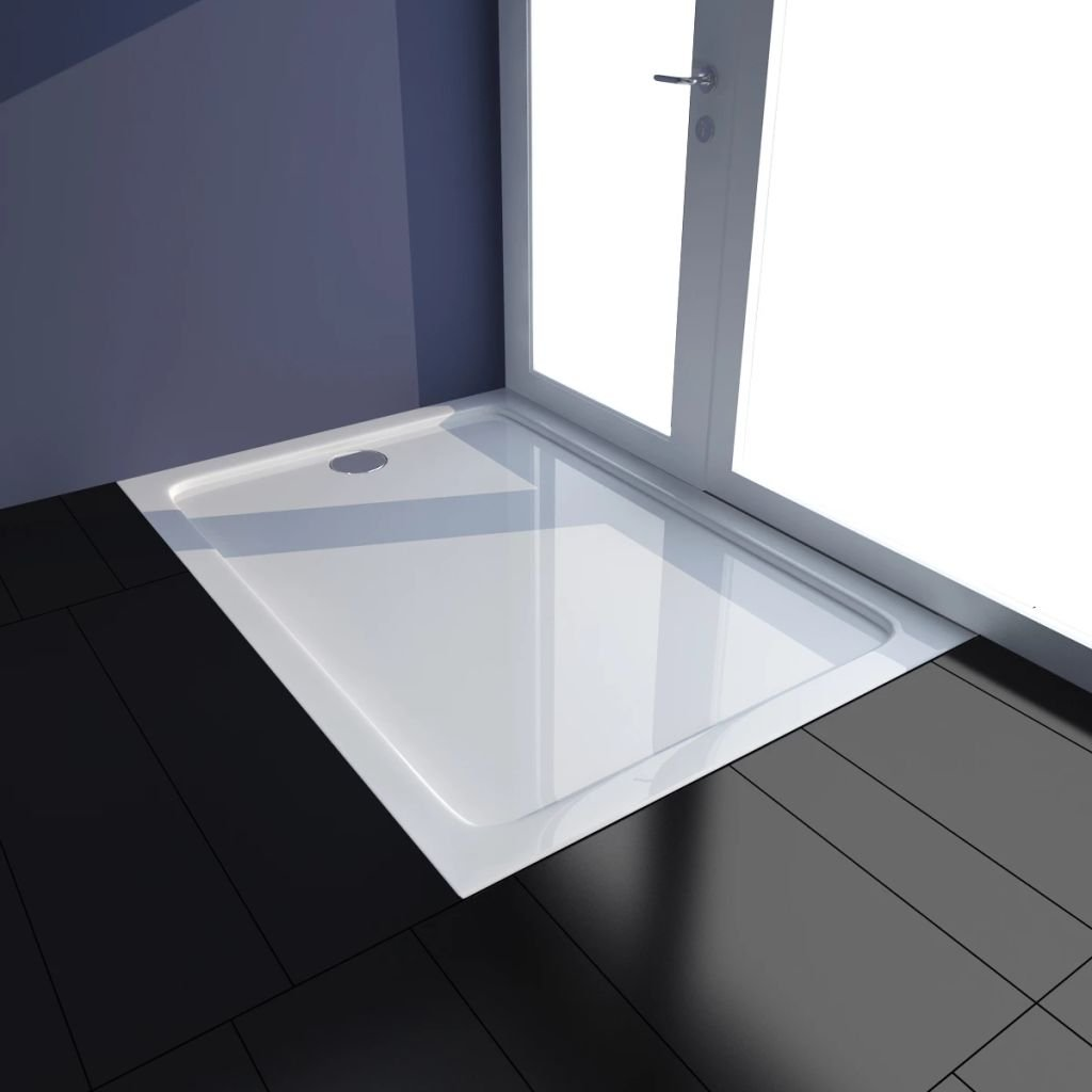 tidyard Plato de Ducha Rectangular de Toque Moderno de ABS 70 x 100 x 4 cm Blanco