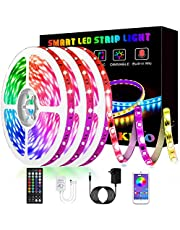 Led Lights, KIKO 50ft/15m RGB Led Lights Strip for Bedroom with Bluetooth and Remote Controller Led Light Strips Sync to Music