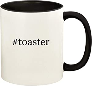 #toaster - 11oz Hashtag Ceramic Colored Handle and Inside Coffee Mug Cup, Black