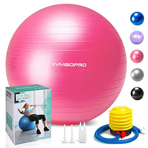 GYMBOPRO Exercise Ball (55-75cm) Heavy Duty Stability Ball Chair Anti Burst Birthing Ball with Quick Pump for Gym, Fitness, Balance, Pilates & Yoga
