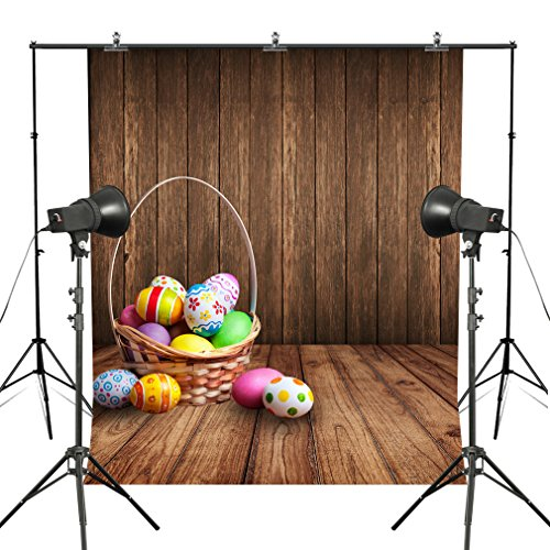 Easter Backdrop Background Colorful Eggs Wall Vinyl Photography Wooden Panel Floor Children Newborn Festival Photo Portrait for Studio Props MUEEU 6X9ft for $<!--$32.86-->