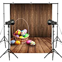 MUEEU 6X9ft Easter Colorful Eggs Photography Backdrops Wooden Panel Floor Children Festival Photo Portrait Backgrounds for Studio Props