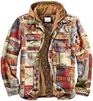 Men's Quilted Lined Flannel Shirt Jacket Long Sleeve Casual Hooded Coats Out