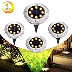 GEEDIAR Solar Garden Lights – 8 LEDs Solar Ground Lights for Outdoor Garden Solar Decking Lights IP65 Waterproof Path… Outdoor Lighting [tag]
